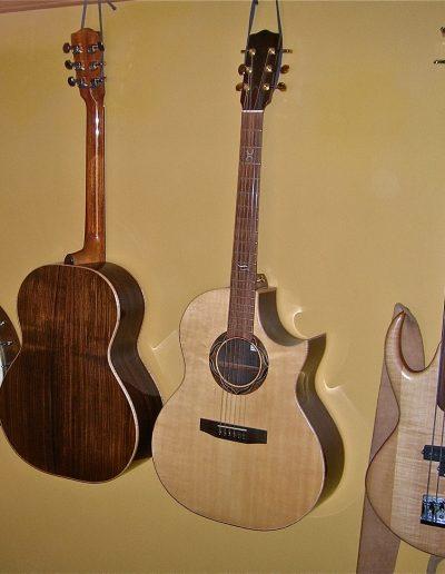 Bass Banjo, Accoustic Back, Cut Away Accoustic, 4-String Bass Banjo built in Sitka Spruce, Rosewood, Mahogany and Ebony