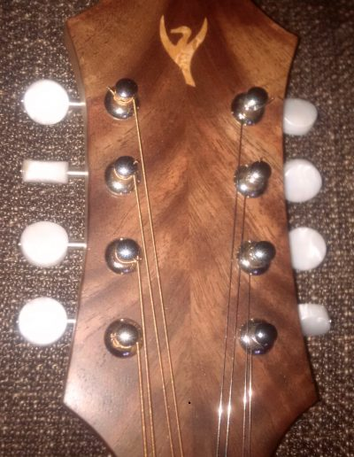 Bookmatched Walnut Head Cap Laminate with Birds Eye Maple Loon Inlay