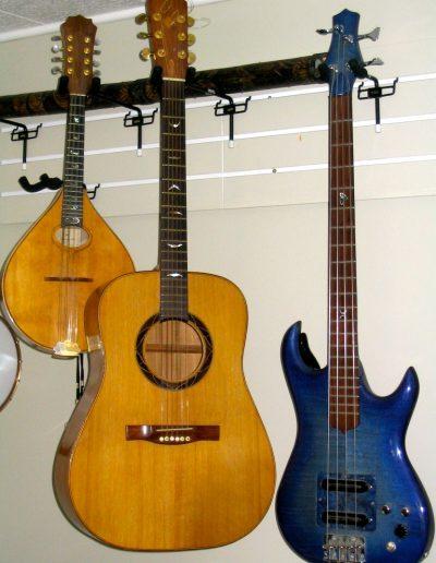 Carved Walnut Mandolin, Mahogany Guitar, Maple Electric Bass