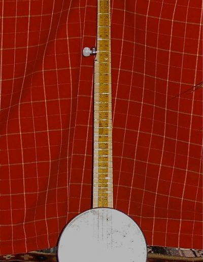 Cookie Tin Banjo with Walnut neck and Yardstick Fingerboard