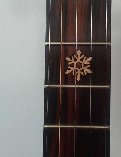 Curly Maple Inlays of Bicycle Wheel Snowflake Mountains on Ebony Fingerboard