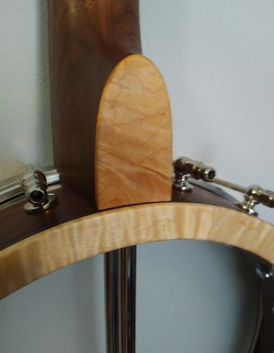 Curly Maple Pot and Heel Cap on Walnut Banjo
