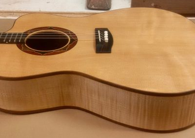 Curly Sitka Spruce Tenor Guitar Top with Curly Maple Sides