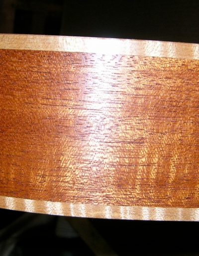 Figured Mahogany Weissenbourne Side with Curly Maple Binding
