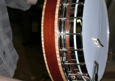 Mastertone style Banjo pot with Solid Mahogany Resinator with Curly Maple Binding