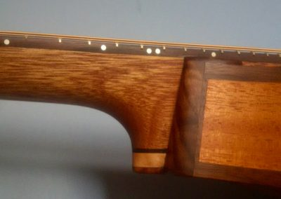 Voyageur side detail of Neck Joint with Mahogany Side