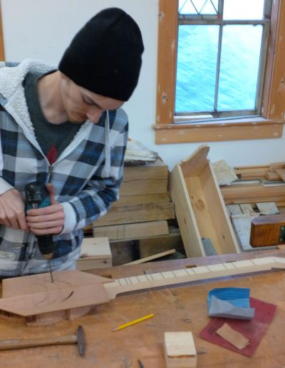 Willowbank School. Another student in action and another modified Dulcimer in progress.